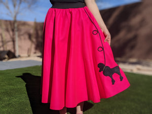 4-Piece Adult Set Poodle Skirt, Scarf, Slip & Black T-shirt with Rhinestones