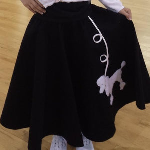 Girls 4 Piece Black Poodle Skirt Set with Scarf, Slip & White Shirt by Pookey Snoo