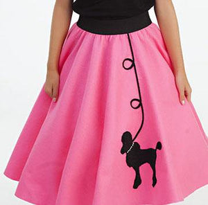 Girls 4 Piece Bubblegum Pink Poodle Skirt Set with Scarf, Slip & Black Shirt by Pookey Snoo