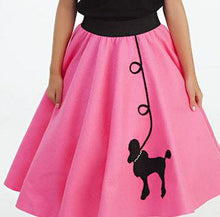 Load image into Gallery viewer, Girls 4 Piece Bubblegum Pink Poodle Skirt Set with Scarf, Slip & White Shirt by Pookey Snoo