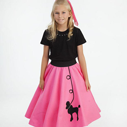 Womens 2 Piece Poodle Skirt Set with Black Shirt by Pookey Snoo