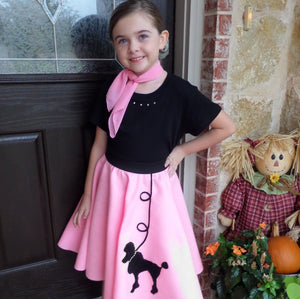 Girls 3 Piece Poodle Skirt Set with Scarf & Black Shirt by Pookey Snoo