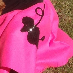 Girls 2 Piece Fuchsia Poodle Skirt Set with Black Shirt by Pookey Snoo