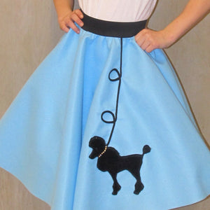 Girls 4 Piece Light Blue Poodle Skirt Set with Scarf, Slip & Black Shirt by Pookey Snoo
