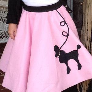 Girls 4 Piece Light Pink Poodle Skirt Set with Scarf, Slip & Black Shirt by Pookey Snoo