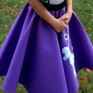 Girls 4 Piece Purple Poodle Skirt Set with Scarf, Slip & White Shirt by Pookey Snoo
