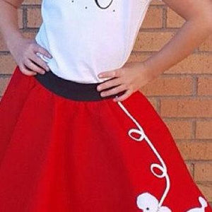 Girls 4 Piece Red Poodle Skirt Set with Scarf, Slip & Black Shirt by Pookey Snoo