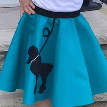 Load image into Gallery viewer, Girls 4 Piece Turquoise Poodle Skirt Set with Scarf, Slip & White Shirt by Pookey Snoo