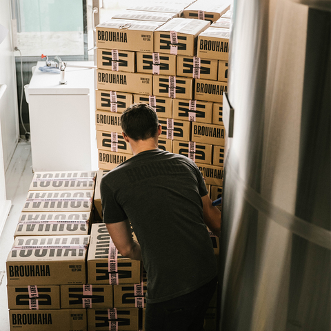 Brouhaha's Matt stacking Strawberry Rhubarb Sour for delivery
