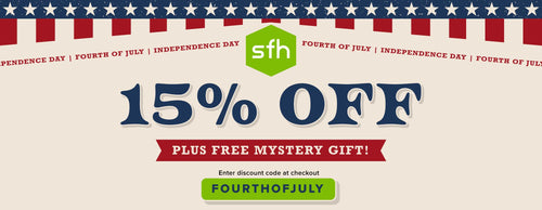 SFH Fourth of July Sale - 15% off PLUS free blender bottle with purchase