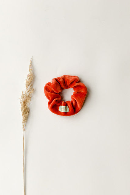 Looks by Luks Velvet Scrunchy Midi Red Rust