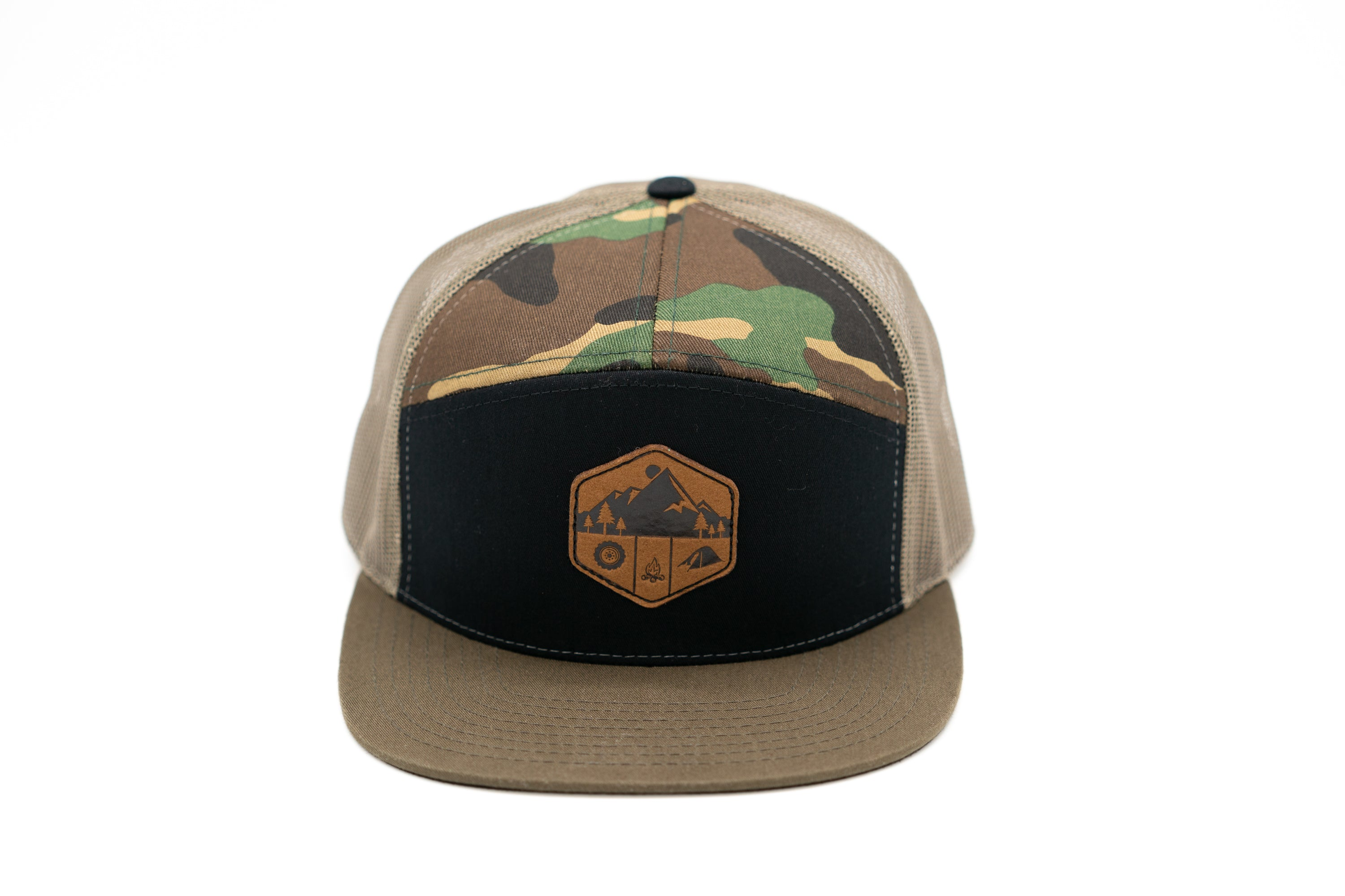 7 Panel Snapback Trucker Hat With Leather Camp Patch - Camo