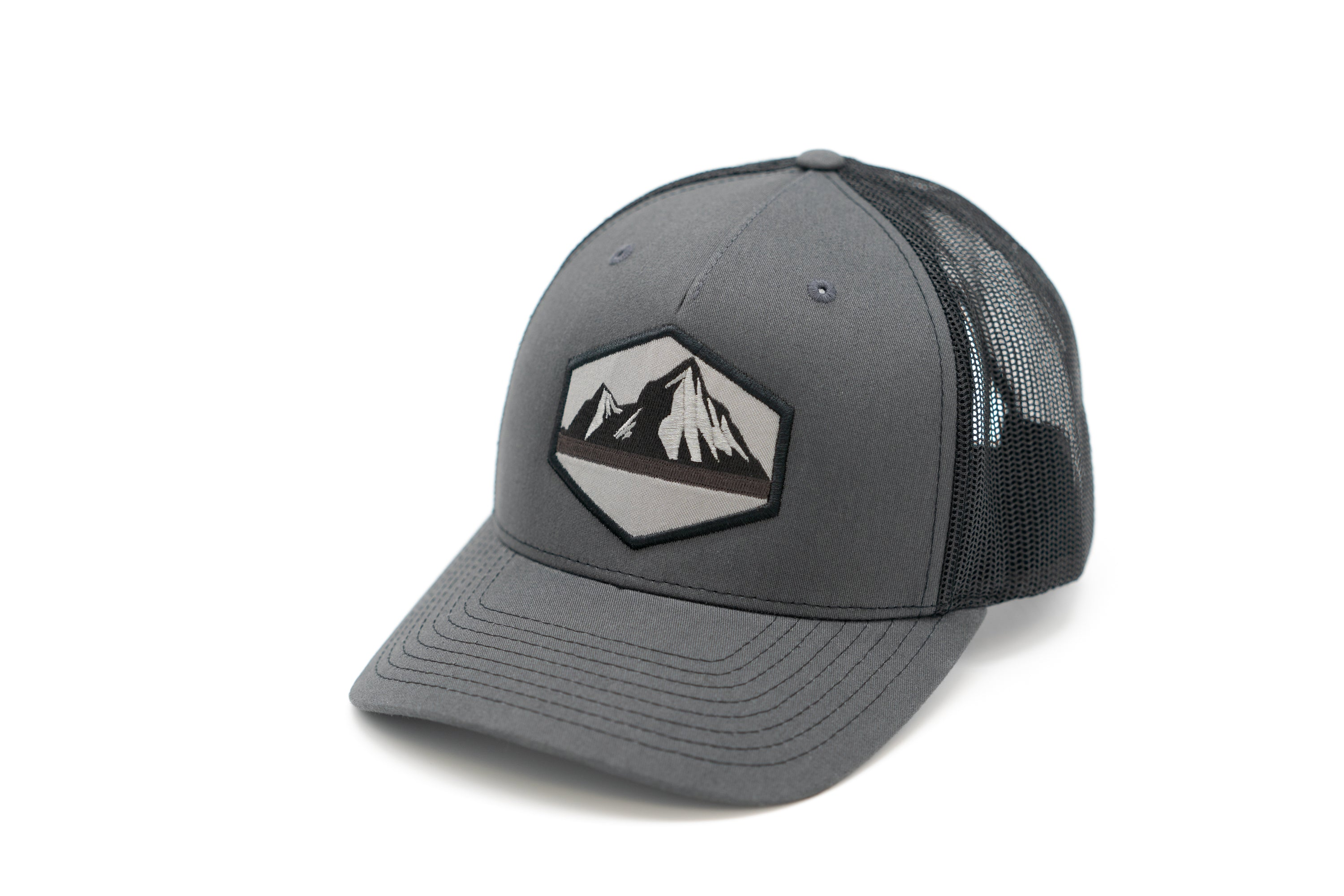 5 Panel Snapback Trucker Hat With Mountain Patch - Charcoal Front and Black Mesh Back