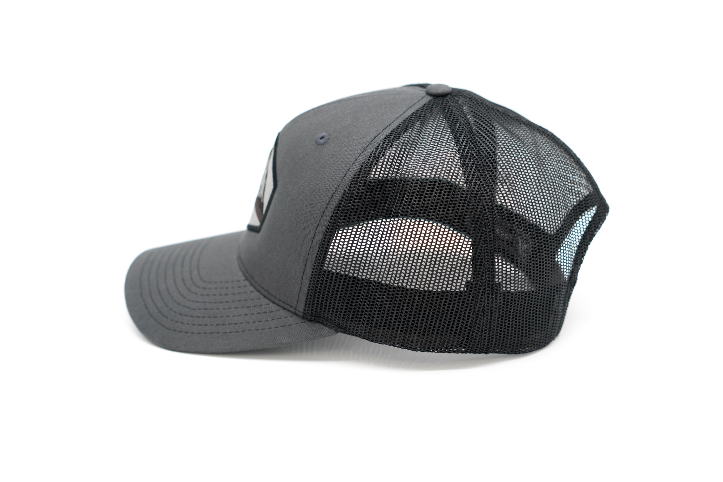 5 Panel Snapback Trucker Patch Hat - Charcoal/Black