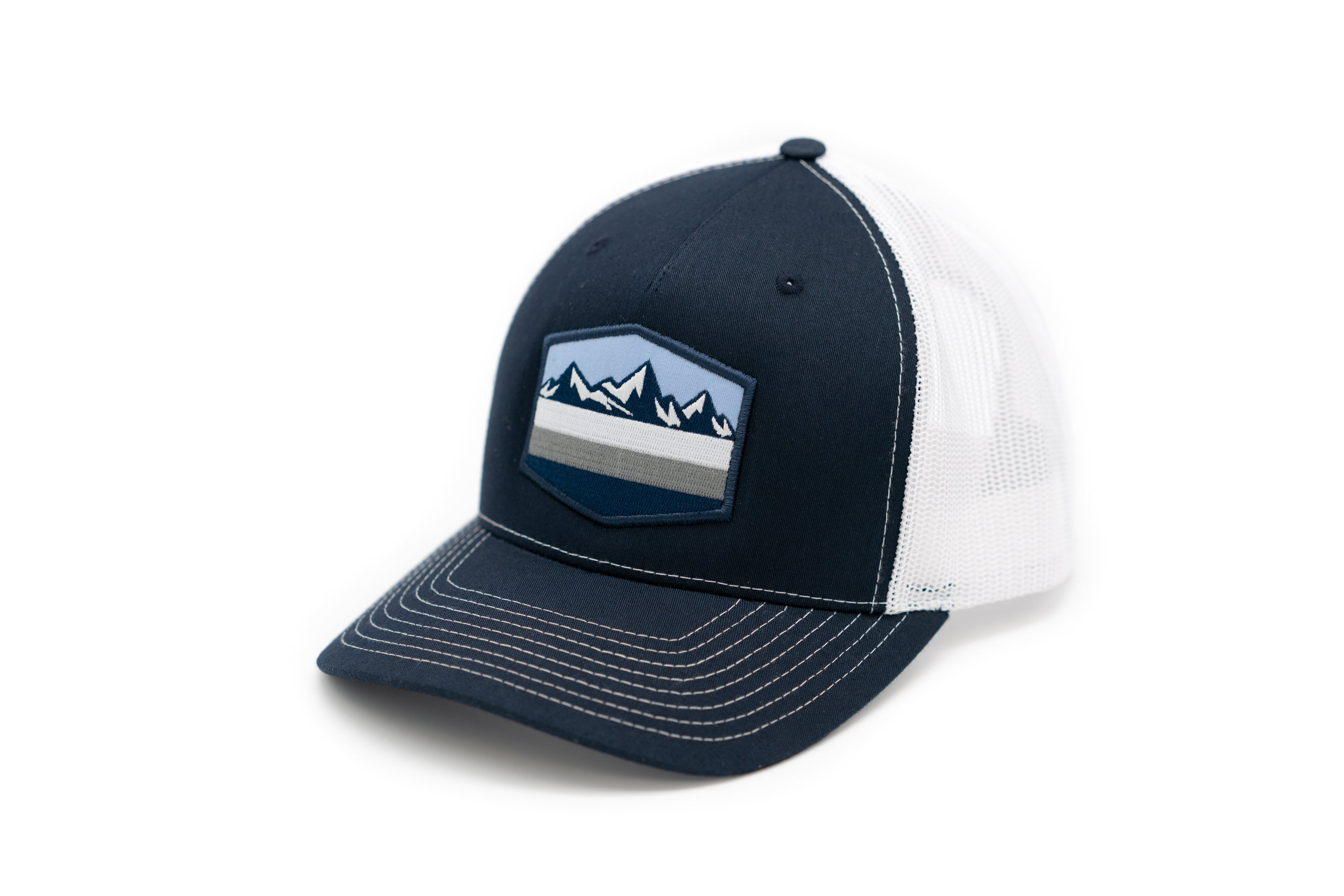 5 Panel Snapback Trucker Hat with Mountain Patch - Navy Front and White Mesh BacK
