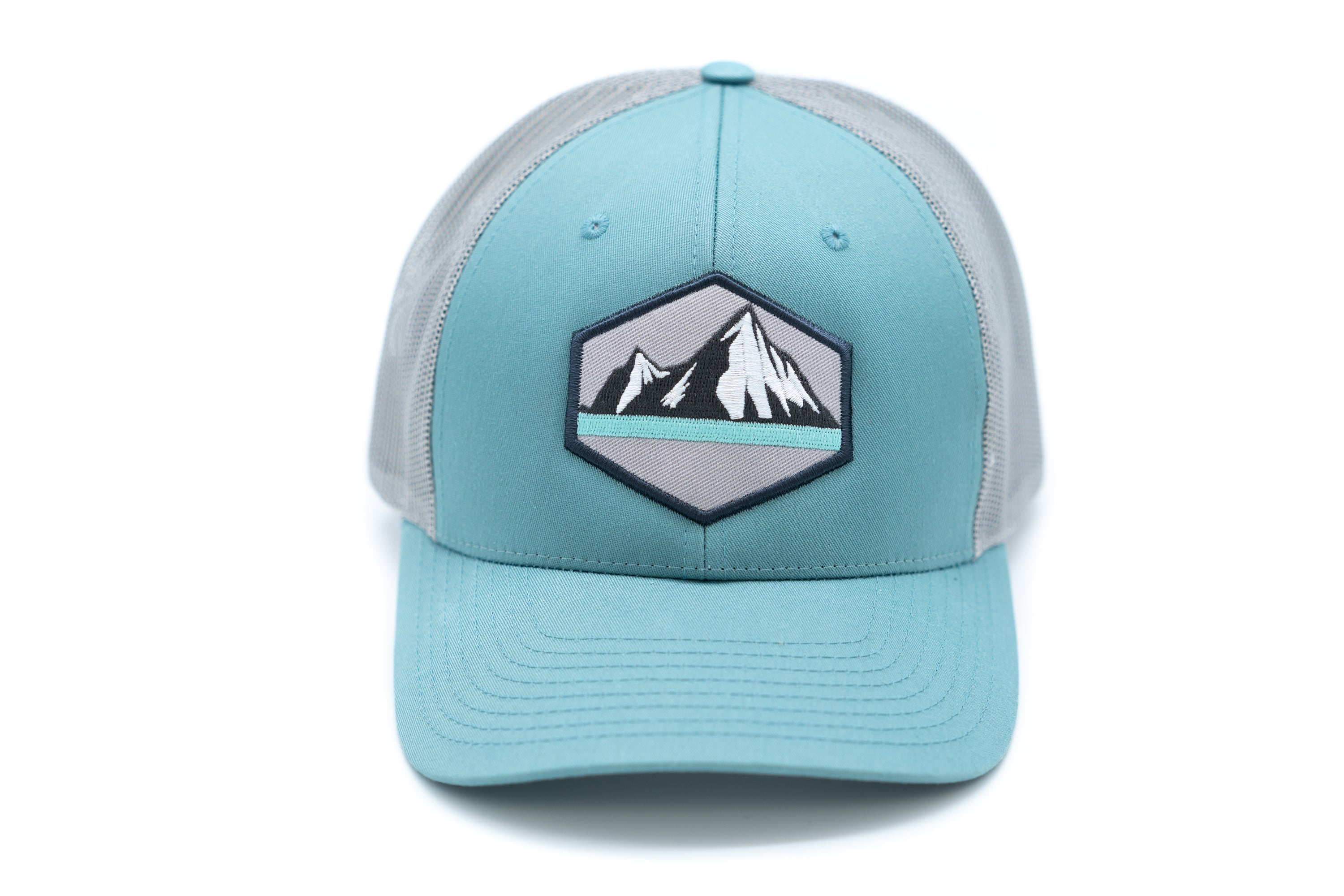 Low Profile Snapback Trucker Patch Hat - Aqua/Grey