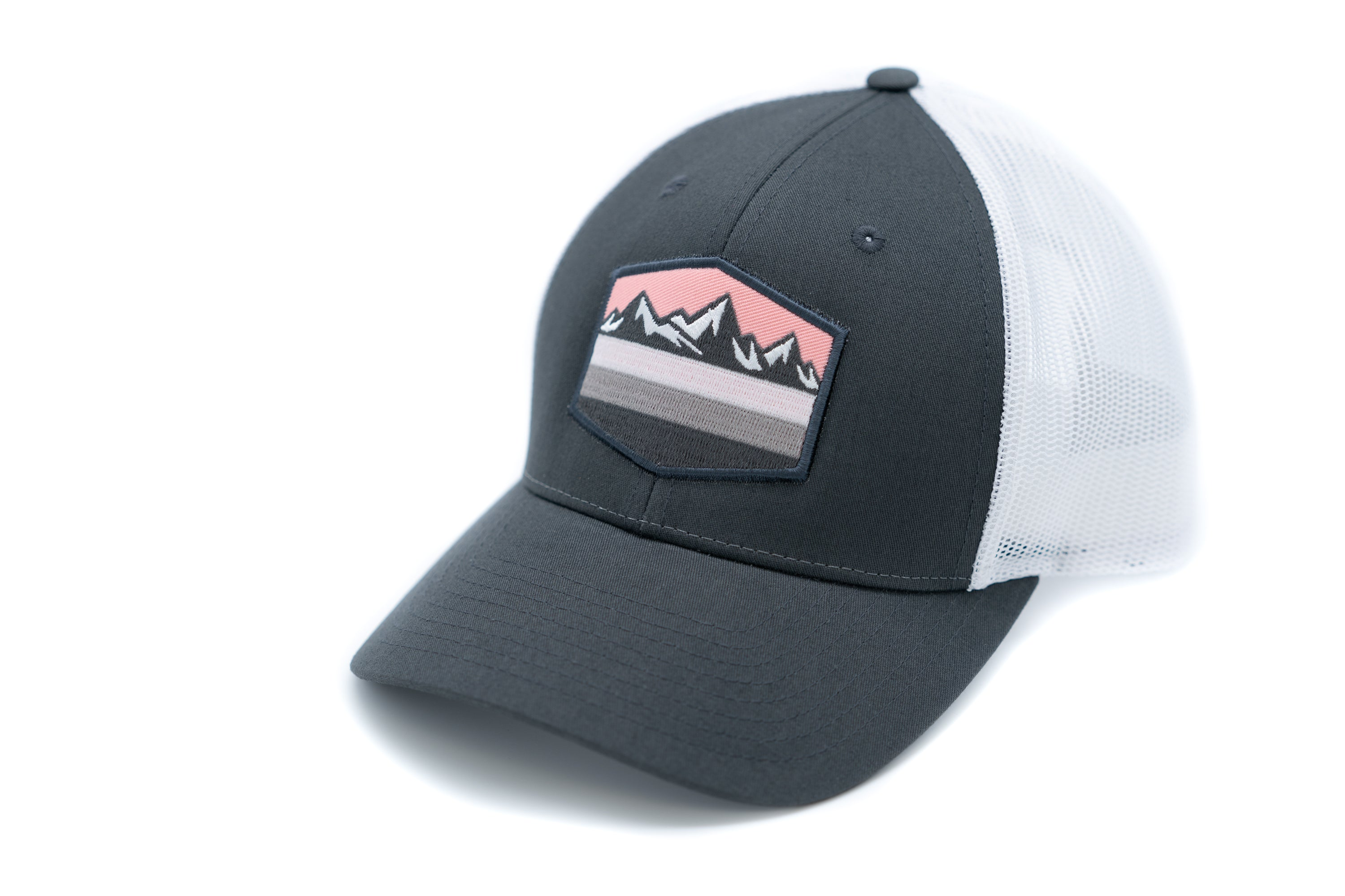 Low Profile Snapback Trucker Hat With Embroidered Mountain and Pink Sky Patch - Charcoal Brim and Front Panel With White Mesh Back