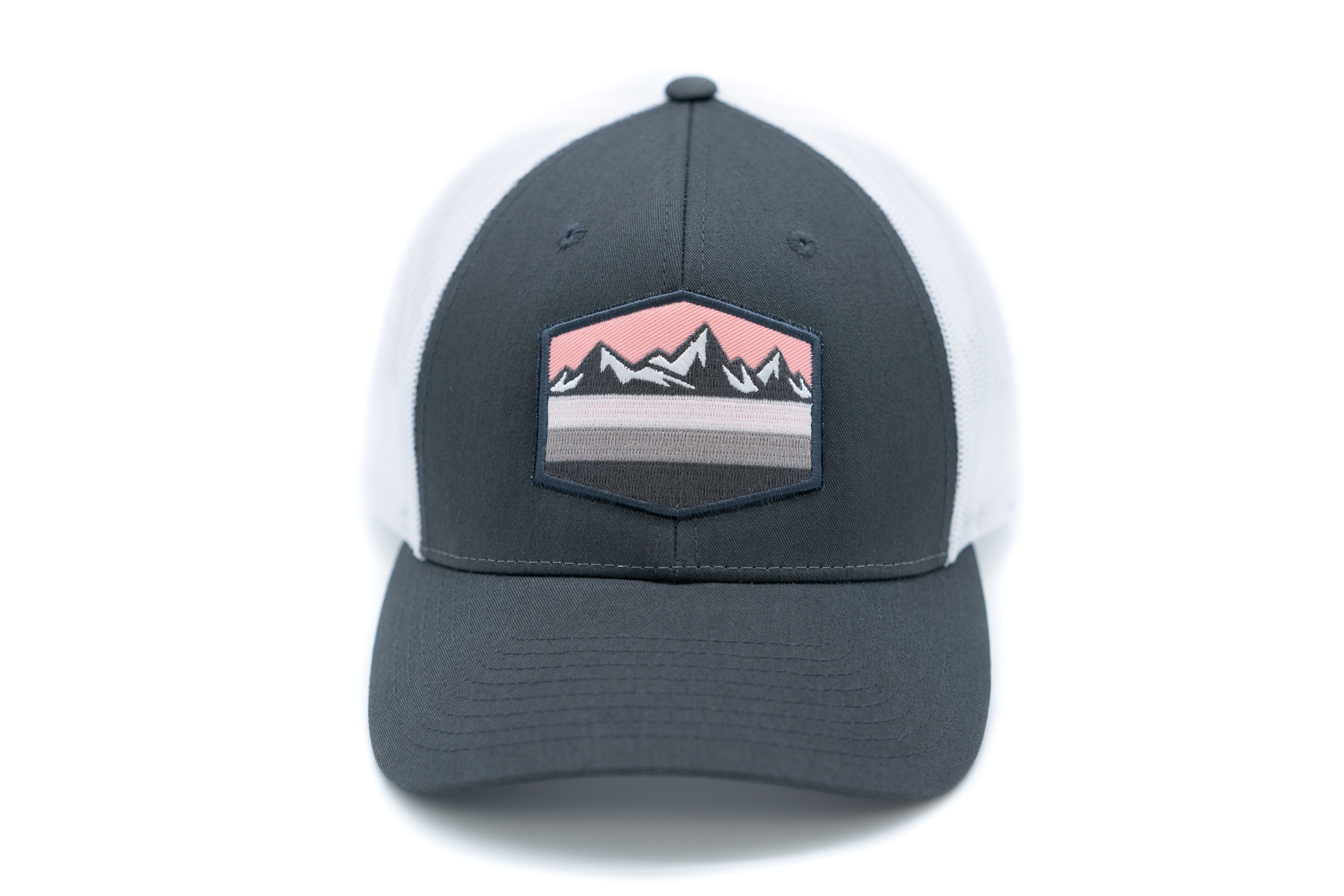 Low Profile Snapback Trucker Patch Hat - Charcoal White