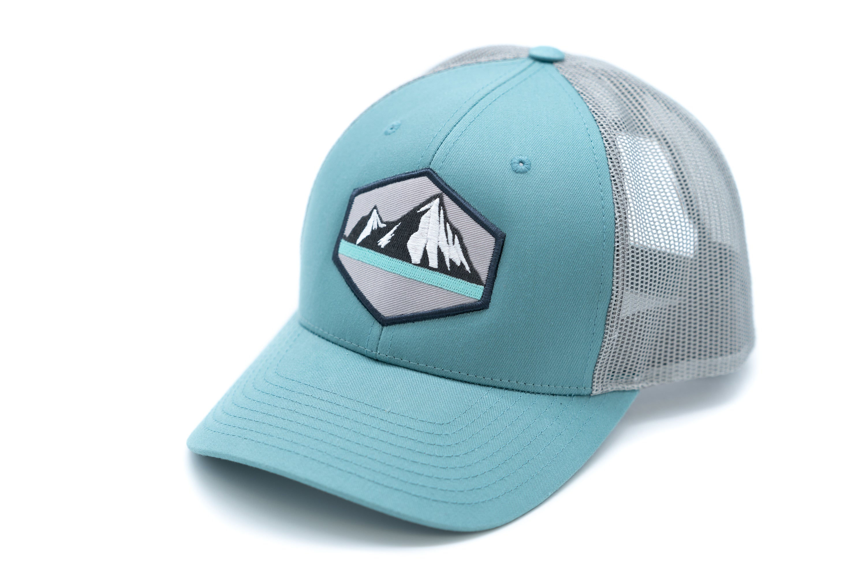 Low Profile Snapback Trucker Hat With Embroidered Mount Patch - Aqua Brim and Front Panel With Grey Mesh Back