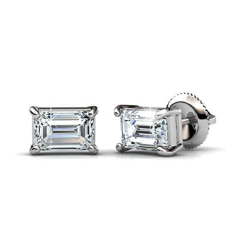 0.50-3.00 CT Emerald Cut Diamonds - Stud Earrings