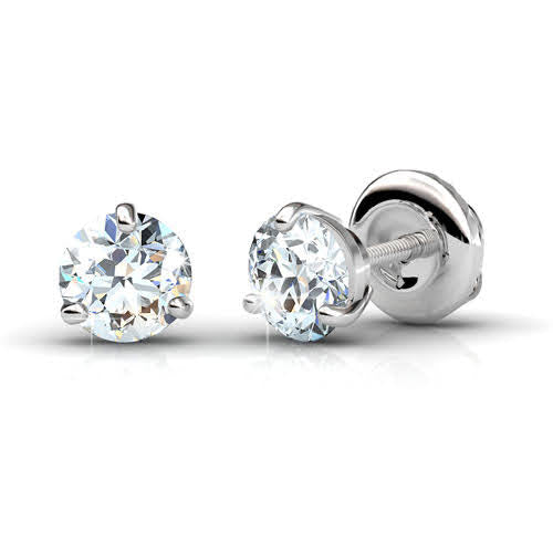0.50-3.00 CT Round Cut Diamonds - Stud Earrings