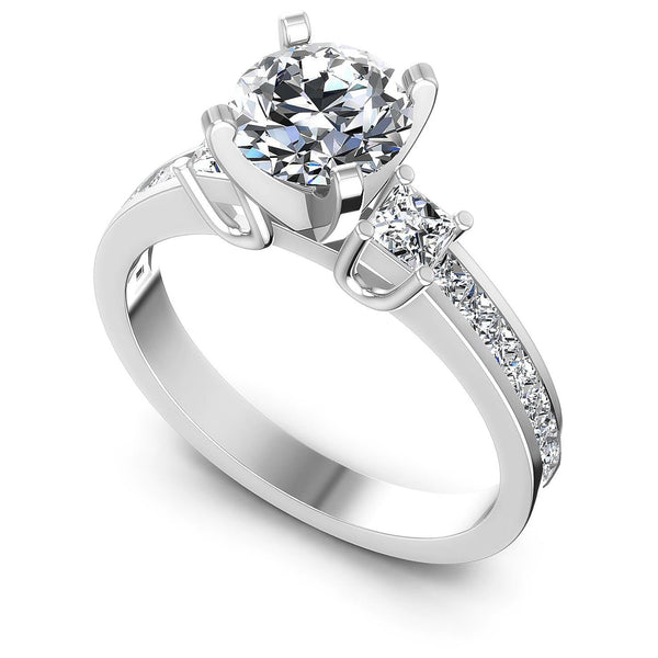 1.10-2.25 CT Princess & Round Cut Diamonds - Engagement Ring