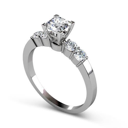 0.95-2.10 CT Round & Princess Cut Diamonds - Engagement Ring