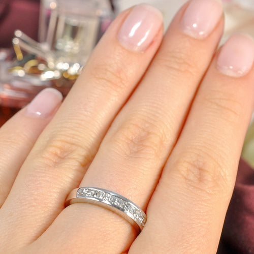 0.65 CT Princess Cut Diamonds - Wedding Band