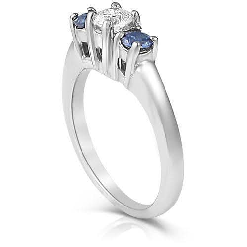 0.90 CT Round Cut Blue Sapphires & Diamonds - Three Stone Ring