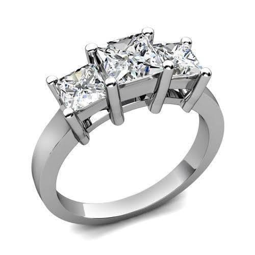 0.30 CT Princess Cut Diamonds - Three Stone Ring