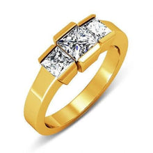 Load image into Gallery viewer, 1.15 CT Princess Cut Diamonds - Three Stone Ring