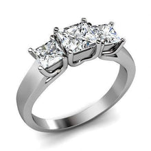 Load image into Gallery viewer, 0.90 CT Princess Cut Diamonds - Three Stone Ring