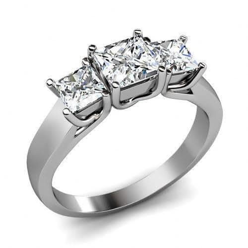 0.90 CT Princess Cut Diamonds - Three Stone Ring