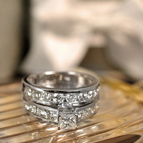 Bridal Sets 1.95-3.10CT Round & Princess Cut Diamonds