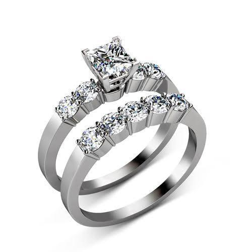 1.75-2.90 CT Round & Princess Cut Diamonds - Bridal Set