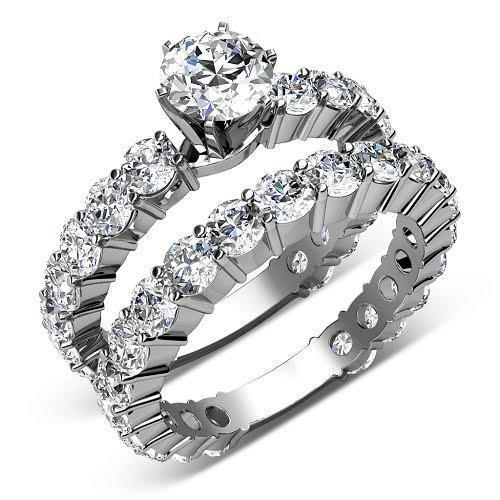 5.65-6.80 CT Round Cut Diamonds - Bridal Set