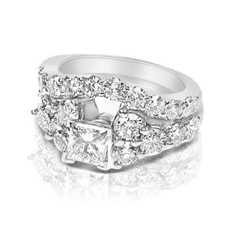 2.90-4.05 CT Round & Princess Cut Diamonds - Bridal Set