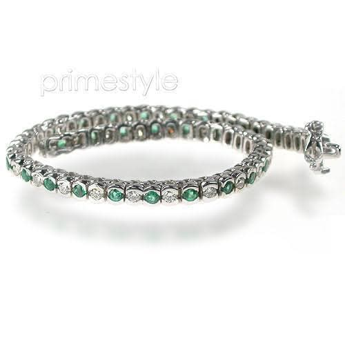 1.00-6.00 CT Round Cut Green Emeralds & Diamonds - Color Stones Bracelet