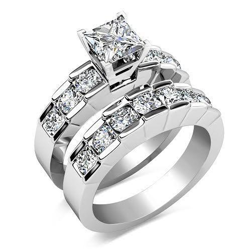 2.20-3.35 CT Round & Princess Cut Diamonds - Bridal Set