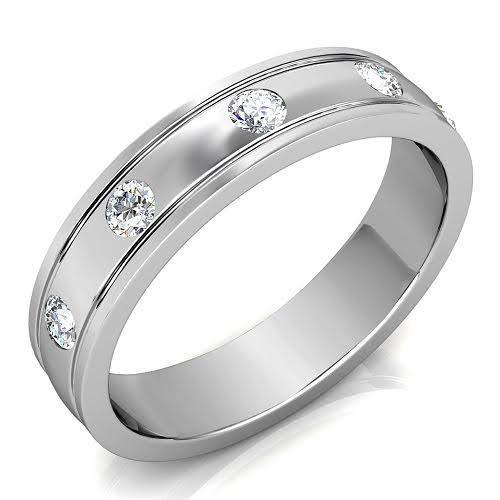0.50 CT Round Cut Diamonds - Mens Wedding Band