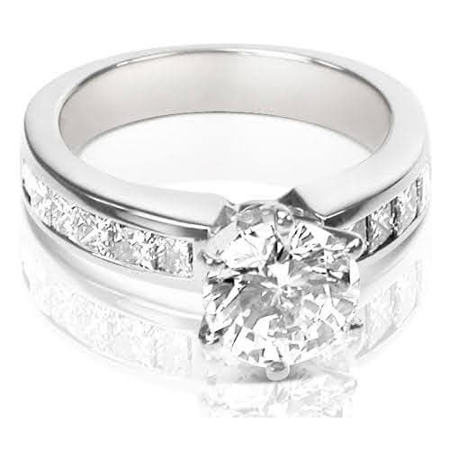 1.25-2.40 CT Princess & Round Cut Diamonds - Engagement Ring