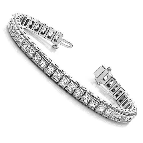 3.00-10.80 CT Princess Cut Diamonds - Tennis Bracelet