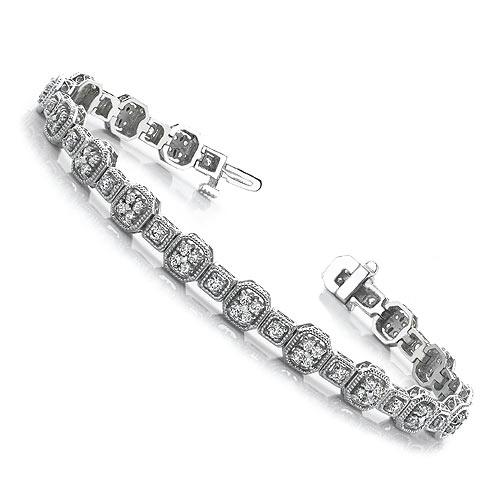 3.00-3.00 CT Round Cut Diamonds - Tennis Bracelet