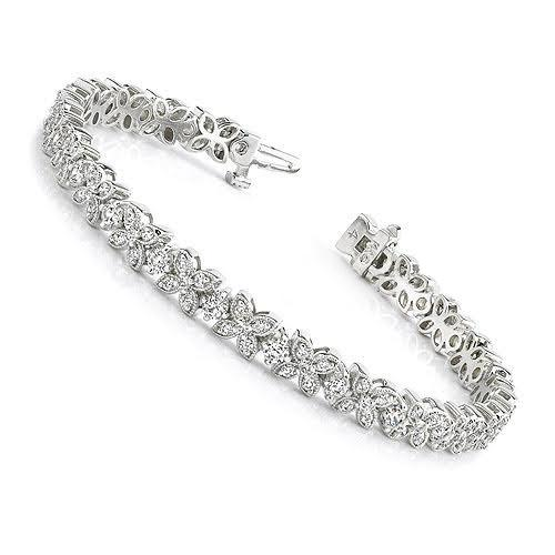 3.20-3.20 CT Round Cut Diamonds - Tennis Bracelet