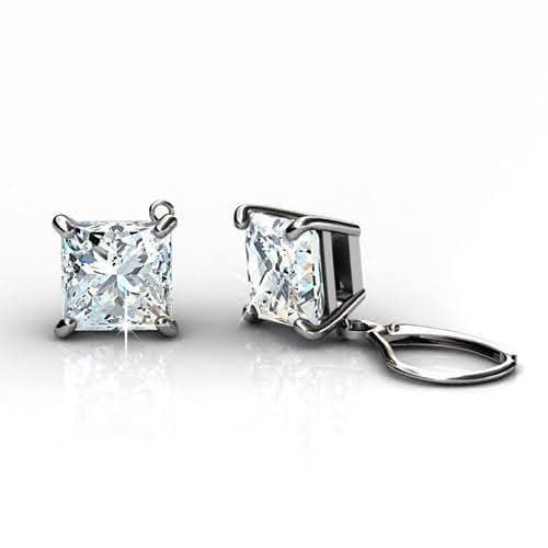0.25 CT Princess Cut Diamonds - Stud Earrings