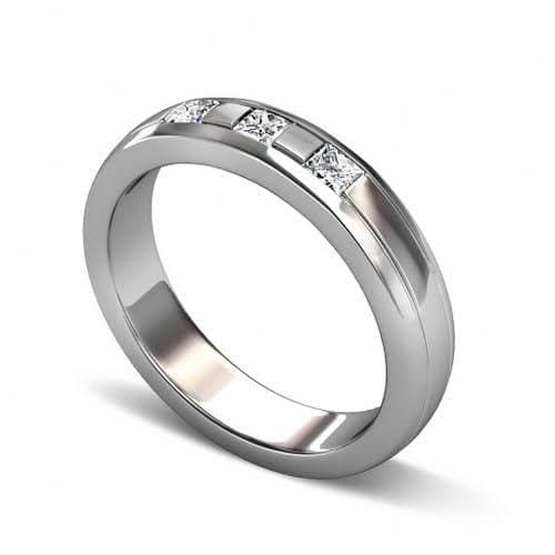 0.40 CT Princess Cut Diamonds - Mens Wedding Band