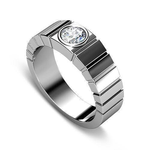 0.40 CT Round Cut Diamonds - Mens Wedding Band