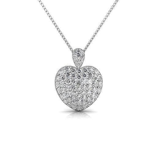 3.00 CT Round Cut Diamonds - Heart Pendant