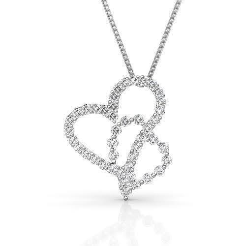 0.90 CT Round Cut Diamonds - Heart Pendant