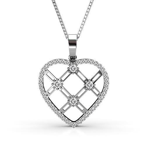 0.85 CT Round Cut Diamonds - Heart Pendant